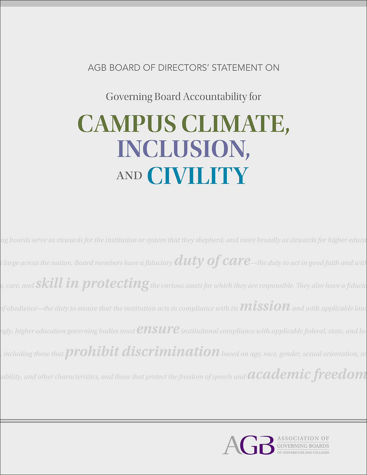 AGB Board of Directors' Statement on Governing Board Accountability for Campus Climate, Inclusion, and Civility