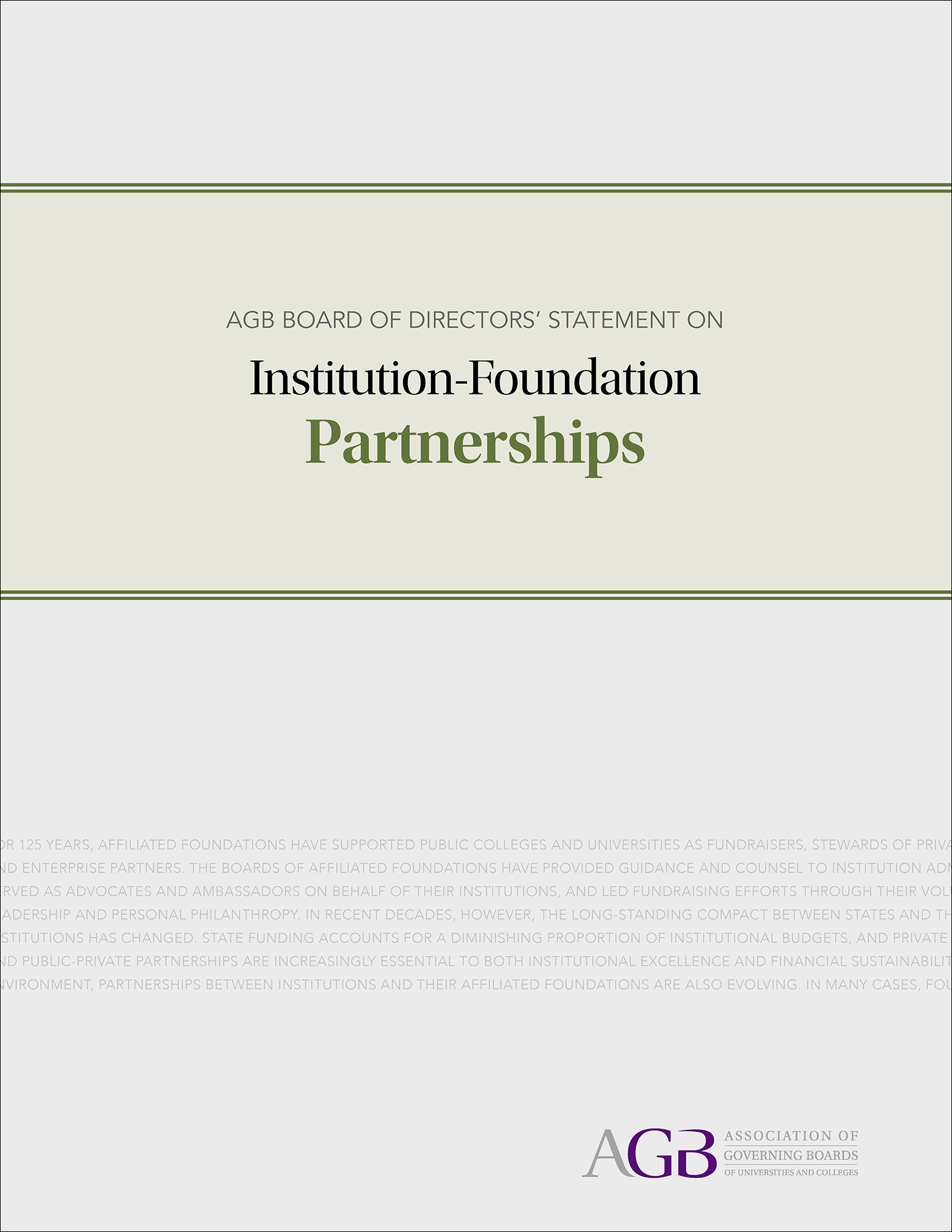 AGB Board of Directors' Statement on Institution-Foundation Partnerships
