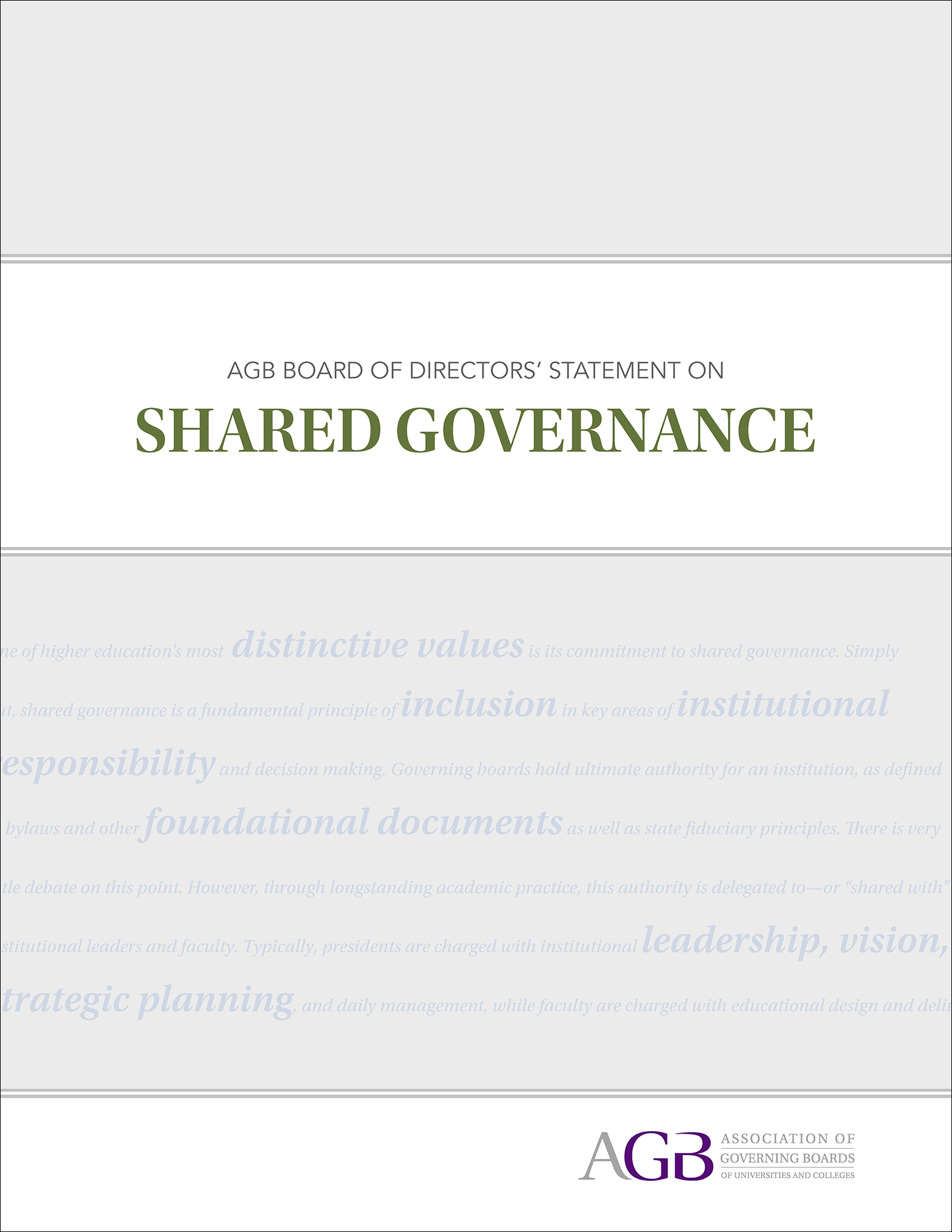 AGB Board of Directors' Statement on Shared Governance