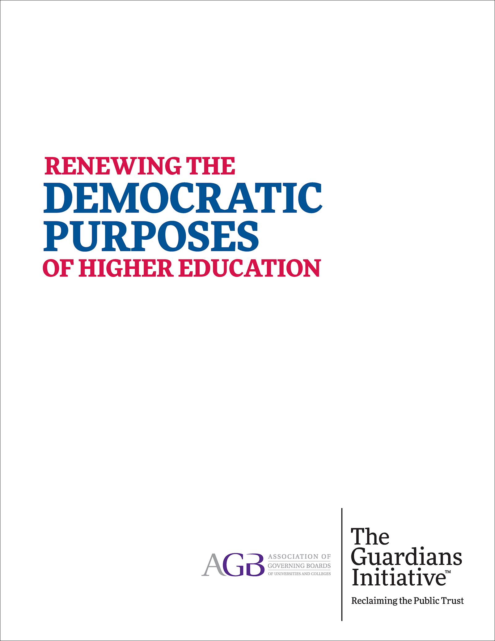 Renewing the Democratic Purposes of Higher Education
