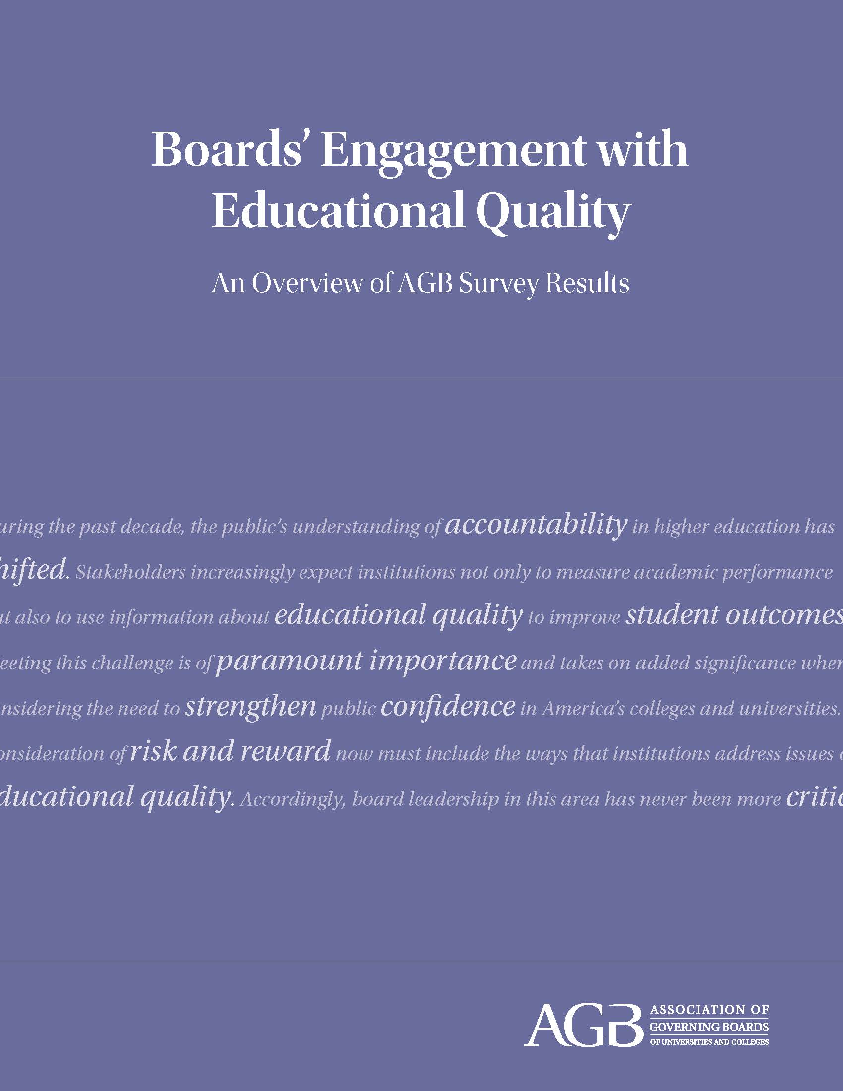 Boards' Engagement with Educational Quality