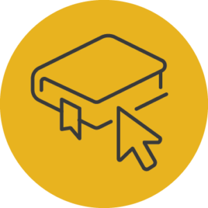 Icon of an arrow pointing to a book that represents the knowlege and resources AGB provides.