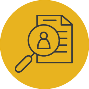 Icon of a magnfying glass, enlarging the image of a person in a document that represents AGB Governance Briefings.