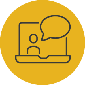 Icon of a presenter displayed on a laptop screen that represents AGB's library of webinars.