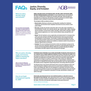 AGB FAQ factsheet on Justice, Diversity, Equity, and Inclusion