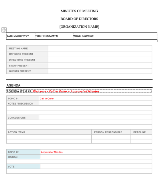 Higher Ed Meeting Minutes Template
