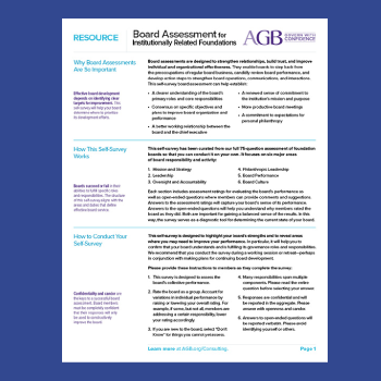 Board Assessment Tool for Foundations